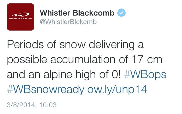 Whistler Tweet